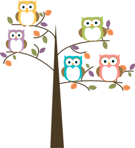 colorful-owls-in-pretty-tree